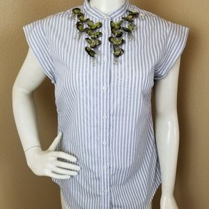 BANANA REPUBLIC Embellished Button Down Top S